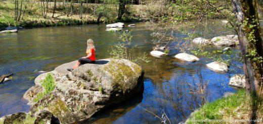 Bayerisch Kanada Wanderung schwarzer Regen Flusswanderweg Felsen