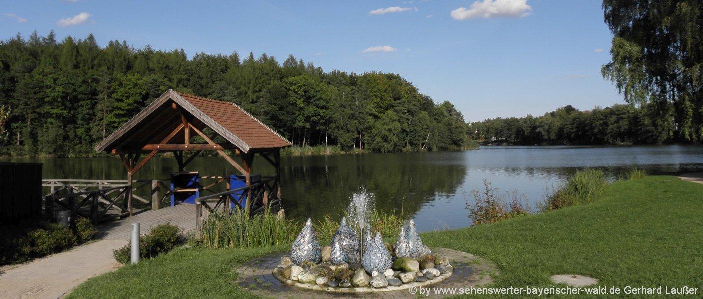 bodenwoehr-hammersee-rundweg-brunnen-steg-see-panorama
