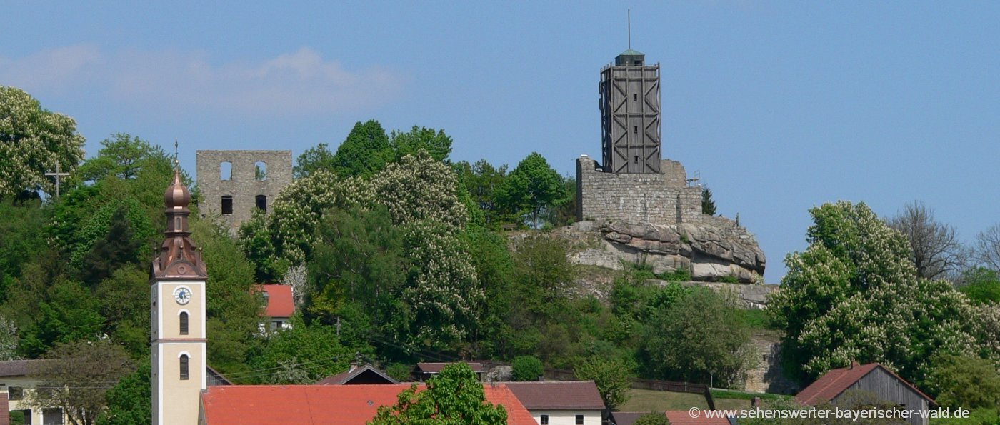 Sehenswürdigkeiten in Brennberg Burgruine mit Aussichtsturm Kloster