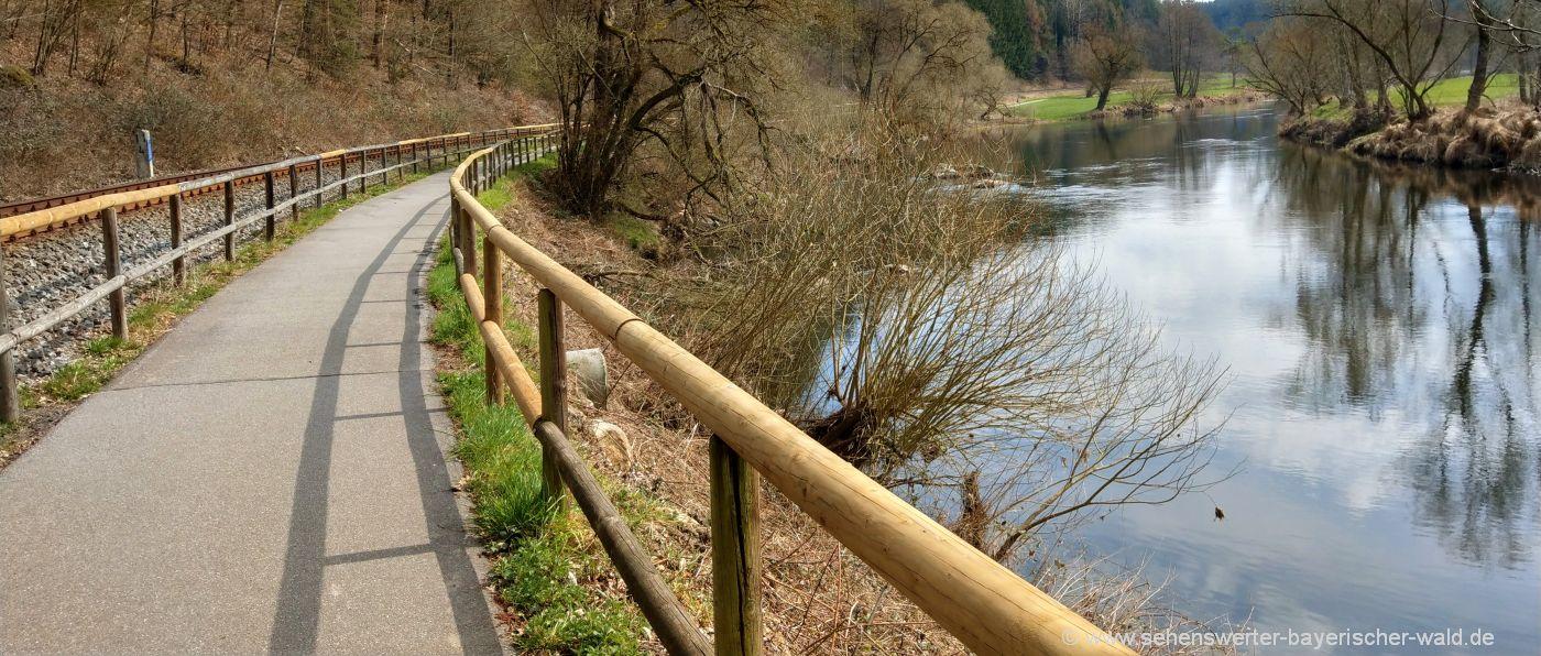Radwegenetz Oberpfälzer Wald - Leichte Radwege in der Oberpfalz Regentalradweg zwischen Chamerau und Bad Kötzting