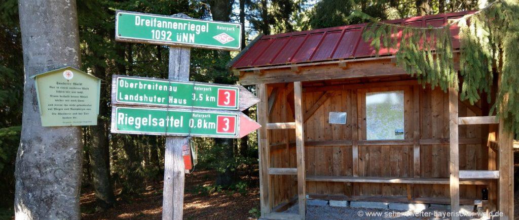 Wandern zum Dreitannenriegel Wanderweg ab Deggendorf oder Rohrmünz