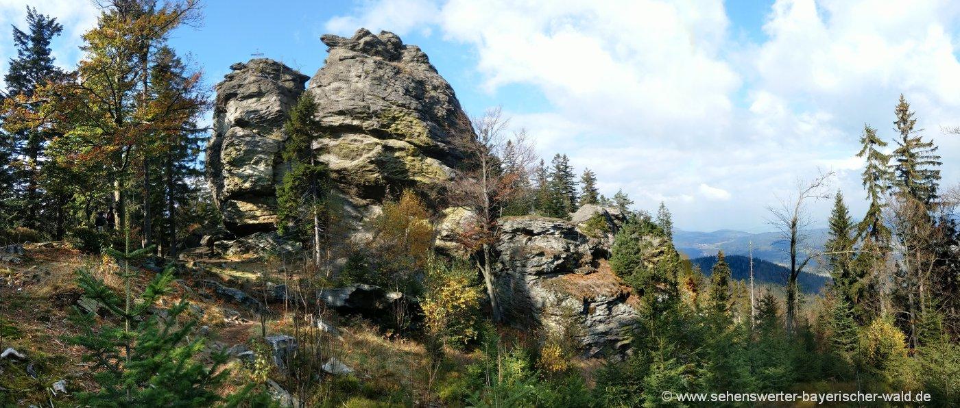 Kletterfelsen Rauchröhren - wandern am Riedelstein und Kaitersberg