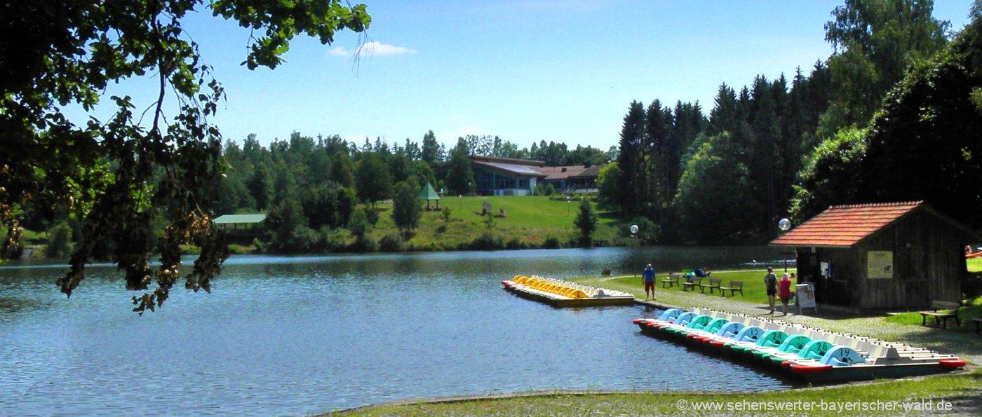 eging-badesee-rundweg-tretboot-fahren-niederbayern