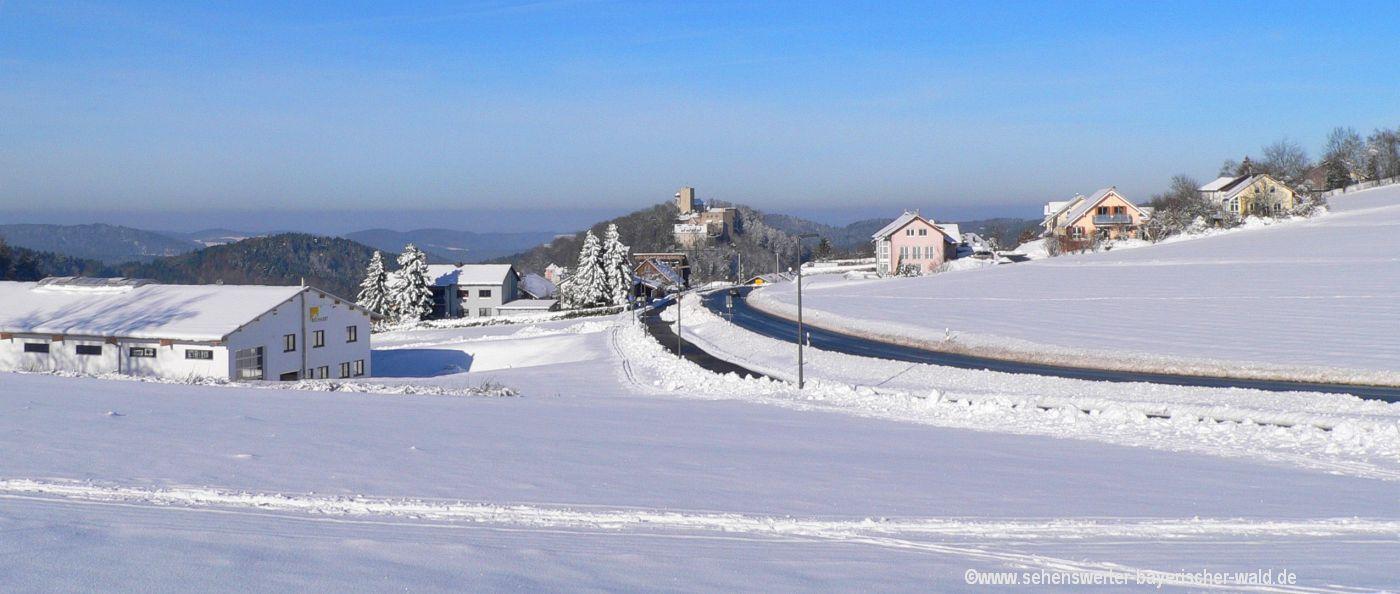 falkenstein-winterwanderweg-oelbergkapelle-tannerl-burgansicht
