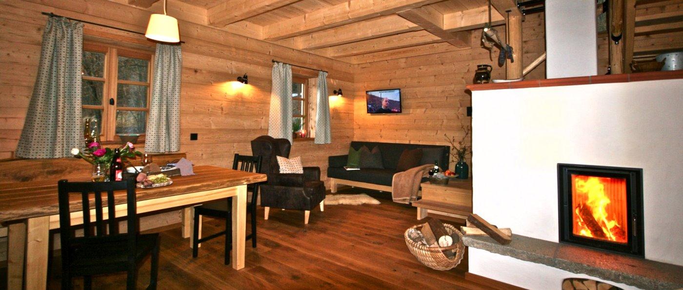 Romantischer Urlaub am Kachelofen im Holzhaus Chalet im Bayerischen Wald