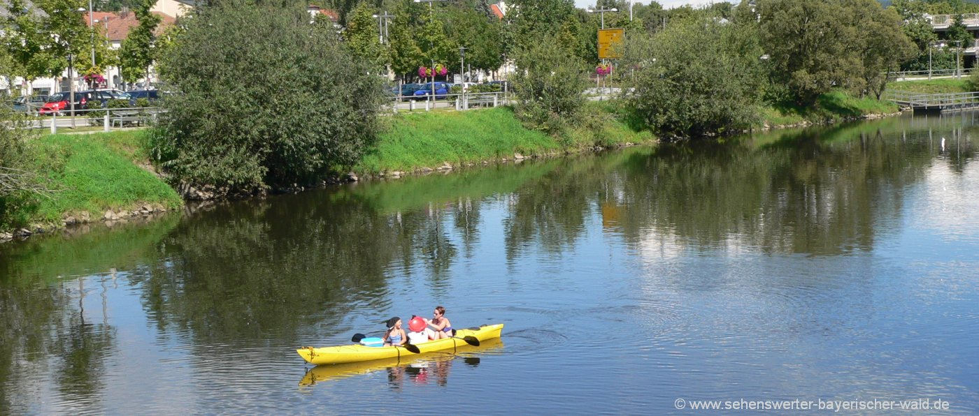 Bootswandern Bayerischer Wald Kanufahren am Regen Fluss