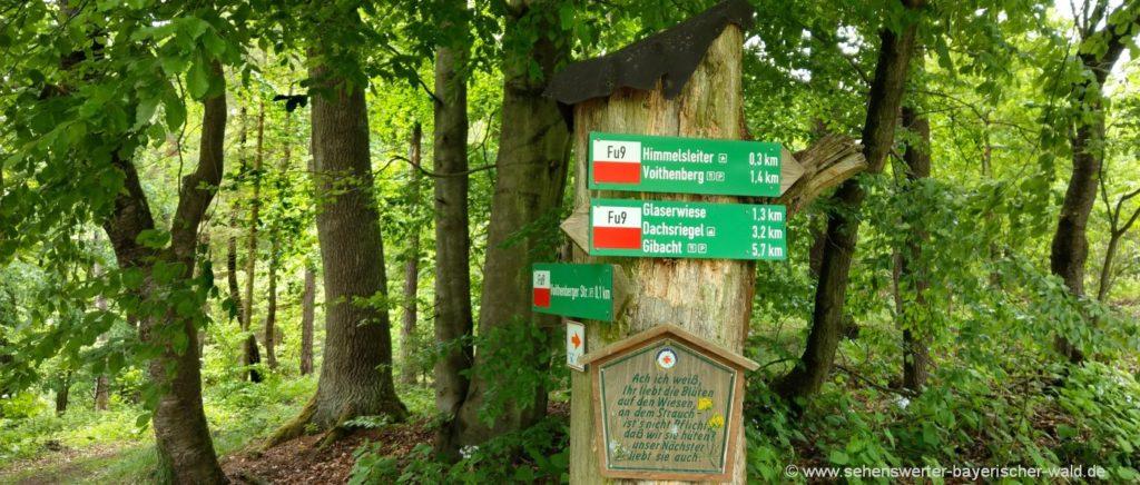 Wander Wegweise zur Glaserwiese, Gibacht, Voithenberg, Himmelsleiter