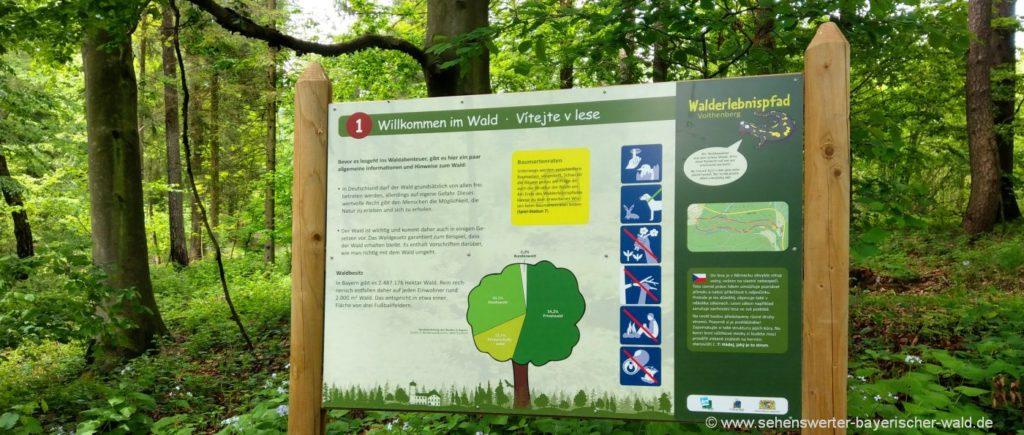 Infotafeln am Erlebnispfad bei Furth im Wald im Landkreis Cham