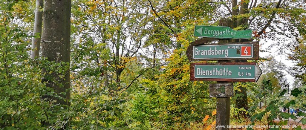 Ausgangspunkt Wanderparkplatz Grandsberg Rundwanderweg zum Hirschenstein Gipfel