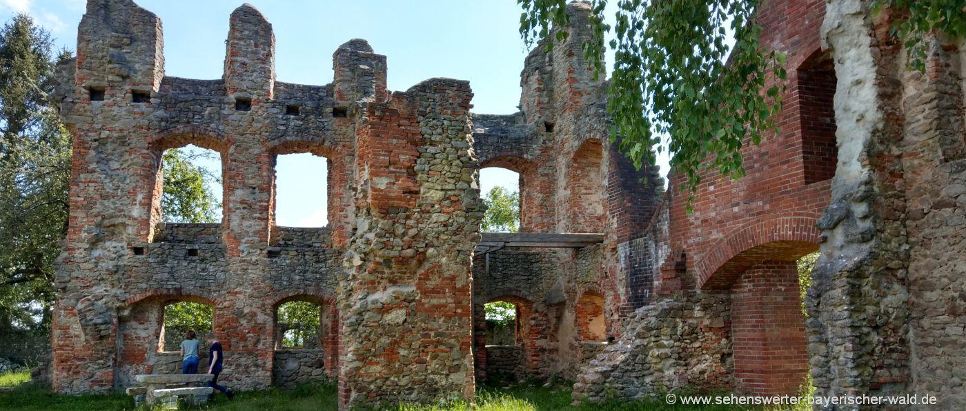 Mauerreste der Burg und Schlossruine in Haibach in Niederbayern
