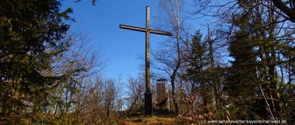 Klammerfels Gipfelkreuz bei Herzogau Rundwanderweg & Klettersteig
