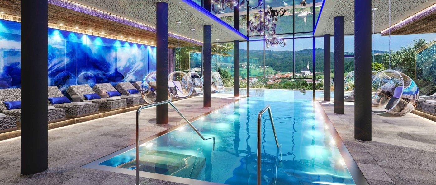 Hüttenhof Wellnesshotel in Grainet Bayerischer Wald mit Infinity-Pool