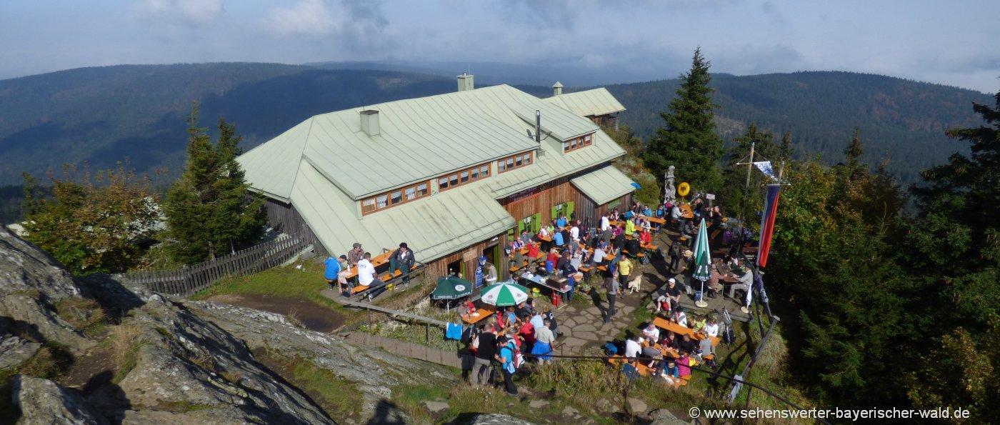 Freizeit Aktivitäten bei Lam Wanderung auf den Osser Gipfel Aussichtspunkt