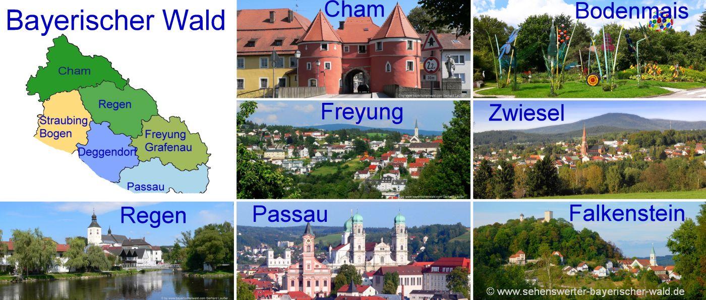 Bayerischer wald Landkarte Städte Niederbayern und Oberpfalz