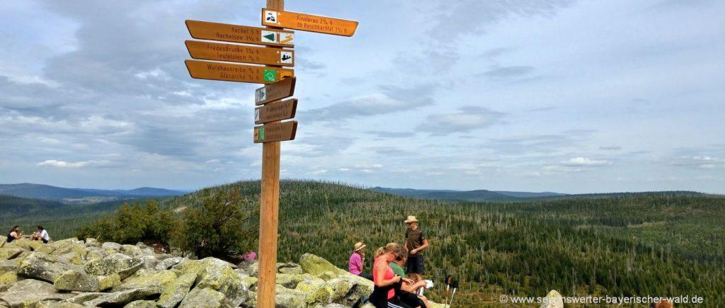 Wanderungen bei Mauth Lusen Finsterauer Lusensteig zum Felsen Gipfel