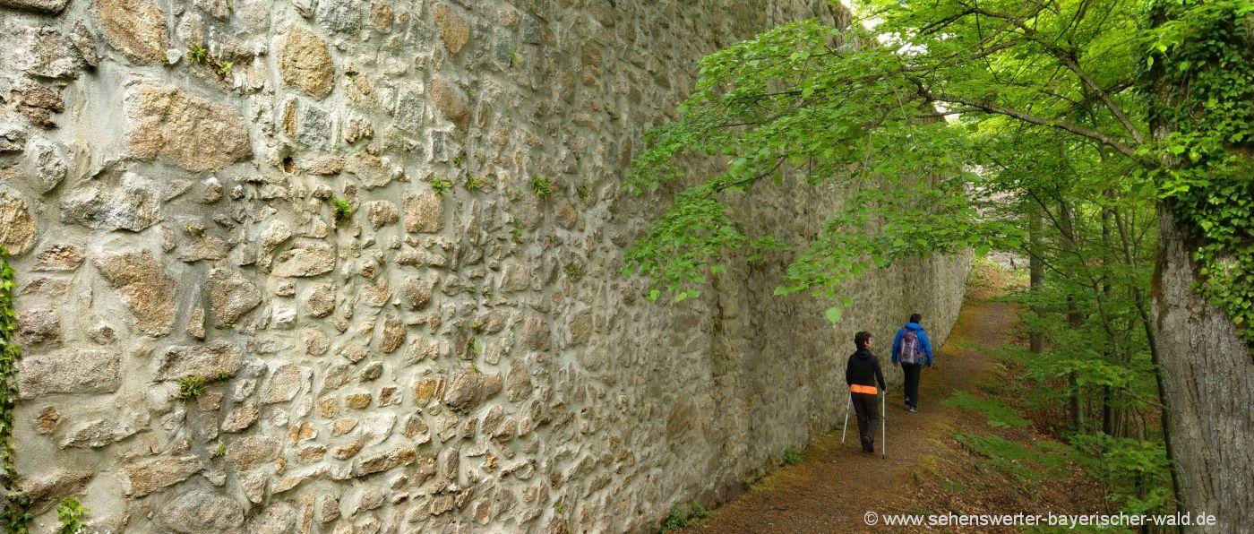 Burgmauer Mitterfels Rundweg ins Perlbachtal Wandern