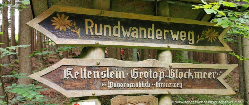 Wanderweg ab Prackenbach zur Kesselboden Kapelle, Keltenstein, Blockmeer