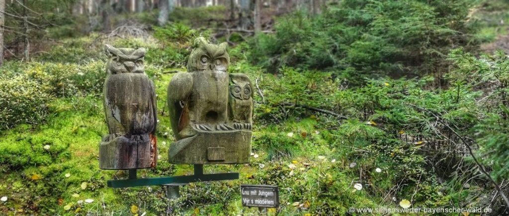 Eulen Statuen am Rundweg Neurittsteig zur Wasserscheide & Zwieseleck