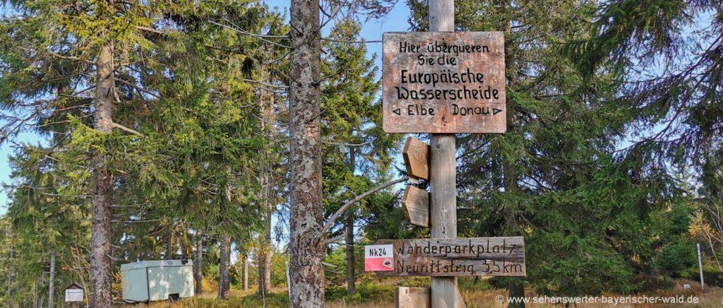 Europäische Wasserscheide Wanderung Lambach Großer Osser Rundweg