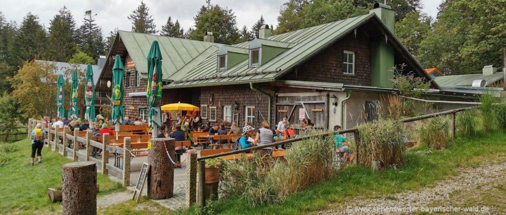Biergarten der Schareben Berghütte Ausflugslokal Wandern Bayerischer Wald