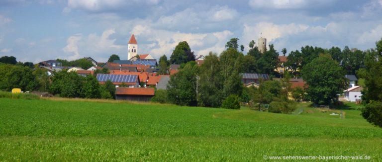 treffelstein-ausflugsziele-oberpfalz-ort-burgturm-kirchturm