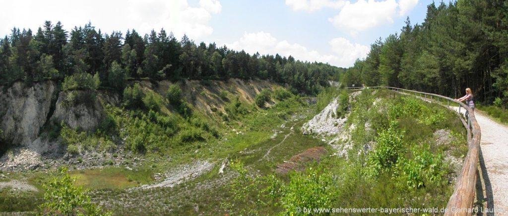 ehemaliger Quarzbruch am Pfahl Erlebnisweg Viechtach - die Quarzabbaugrube
