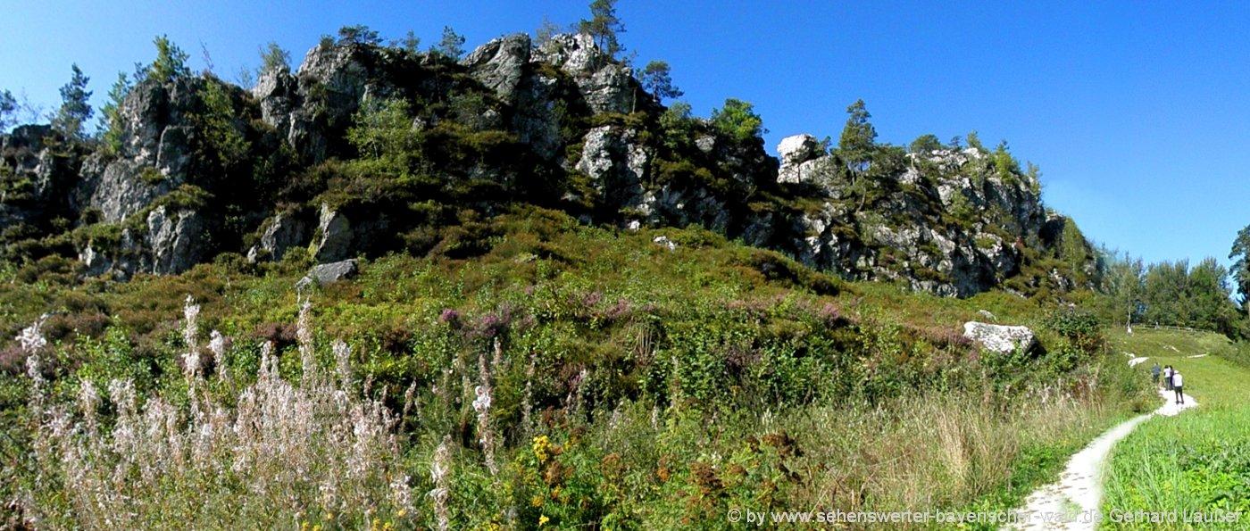 Wanderwege am Pfahl Geotop Wanderung bei Viechtach Quarzfelsen