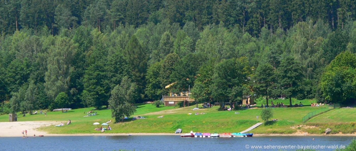 Perlsee bei Waldmünchen Ausflugsziel zum Baden in der Oberpfalz