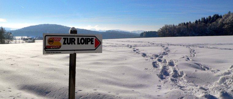 Skilanglauf Bayerischer Wald Langlauf Urlaub Loipe Schild