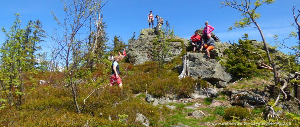Wanderung zum Zwercheck Berg Gipfelkreuz Deutschland Tschechien